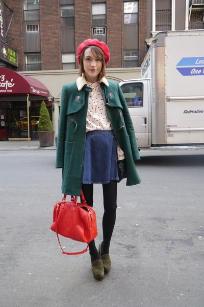 jaeger shirt - whistles coat - American Apparel hat - Jaeger London bag