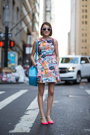 Markus Lupfer dress - Sophie Hulme bag - Karen Walker sunglasses