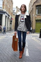 Markus Lupfer jumper - acne boots - Nudie jeans - acne jacket - Sophie Hulme bag