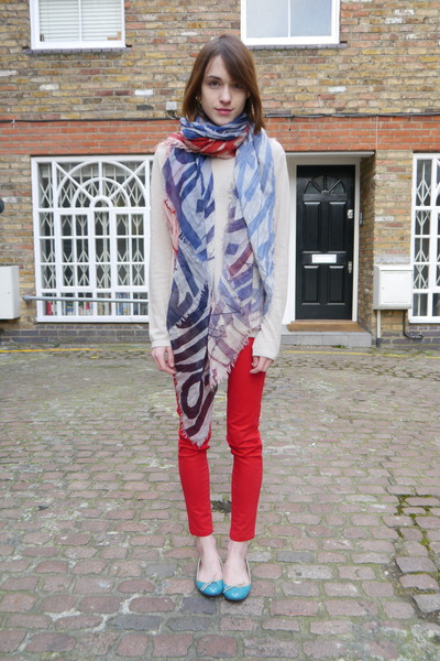Louis Vuitton scarf - Goat jumper - Zara pants - French Sole flats