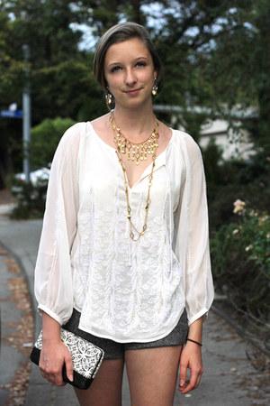 gold Ralph Lauren necklace - black Forever 21 purse - gray handmade shorts