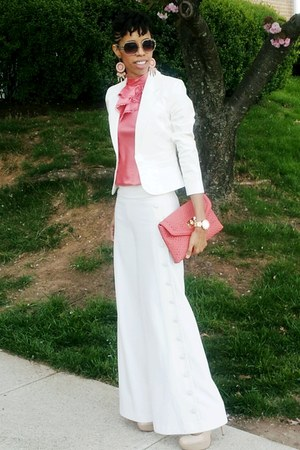 tan Bakers pumps - white Victorias Secret blazer - salmon Aldo purse