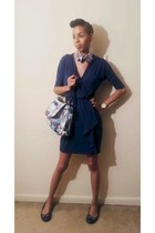 periwinkle coach bag - navy White House Black Market dress