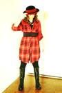 Red-urban-outfitters-dress-black-nine-west-boots-black-hue-leggings-black-