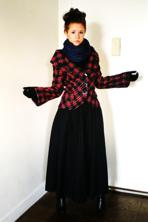 red handmade jacket - blue unknown scarf - black Vintage Ralph Lauren skirt - bl
