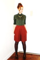 green Zara shirt - brown Spiegel vintage shorts - brown Nine West shoes - gold v