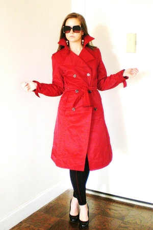 red Zara coat - black Express leggings - black Nine West shoes