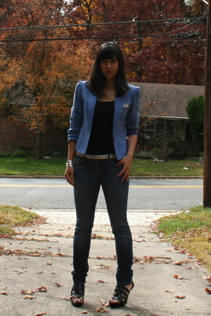 jacket - H&M top - belt - Seven For All Mankind jeans - shoes - Forever21 bracel