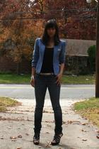 jacket - H&M top - belt - Seven For All Mankind jeans - shoes - Forever21 bracel
