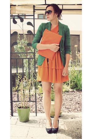 carrot orange H&M dress - green Zara blazer - carrot orange clutch DIY bag - bla