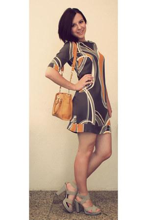 heather gray H&M dress - light orange Newlook bag - heather gray H&M heels