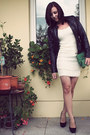 Black-leather-vintage-jacket-off-white-lace-h-m-dress
