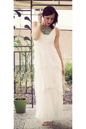 white maxi dress H&M dress - turquoise blue H&M ring - turquoise blue H&M neckla