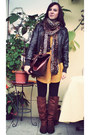 Mustard-h-m-dress-dark-brown-leather-jacket-pimkie-jacket