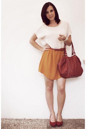 off white Zara dress - ruby red Mango bag - ruby red noname belt