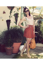 tawny New Yorker skirt - eggshell H&M shirt - light orange New Yorker bag