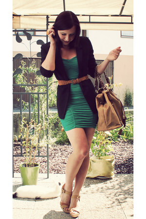green H&M dress - black H&M blazer - nude H&M bag - nude Pimkie wedges - nude Ne