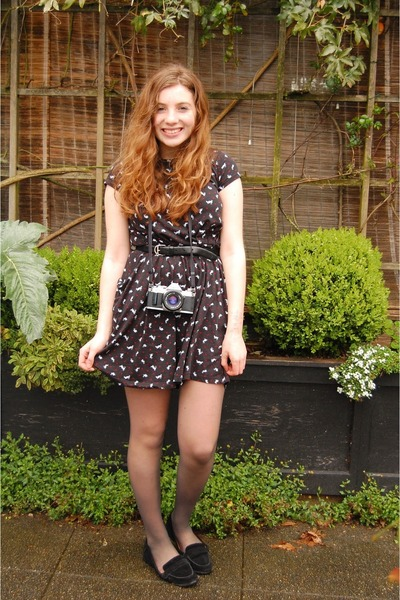 black printed cotton thrifted dress - black suede Urban Outfitters loafers