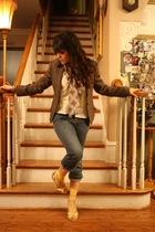 brown vintage blazer - blue the gap jeans - yellow Bakers shoes - beige vintage
