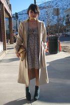 green turquoise Local Boutique boots - beige BCBG dress - beige vintage coat