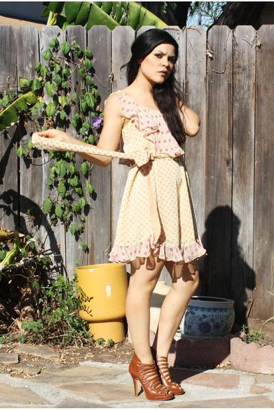yellow self-made dress - brown heels