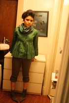 green For Joseph jacket - black no brand pants - gray Nine West boots - white Ha