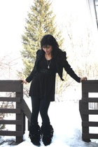 black Zara jacket - black Minnetonka boots - black gifted leggings - black blous