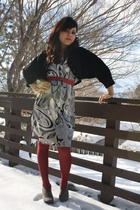 gray No label dress - black vintage jacket - gray Fioni boots - red from Walmart