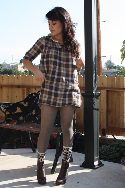 brown plaid Forever 21 top - brown Jessica Simpson boots