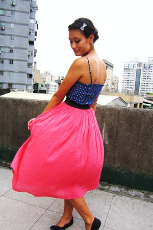 bubble gum maxi skirt - blue worn as top H&M dress