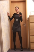 pepe dress - H&M top - falke tights - Nine West shoes - Hugo Boss belt