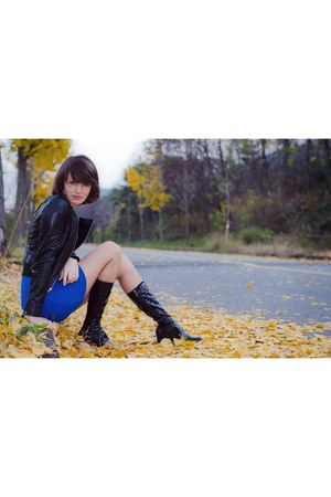 black black leather Leshop jacket - boots - blue wool Leshop dress