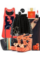 orange wedges - black bag - gold bracelet - carrot orange top - black necklace