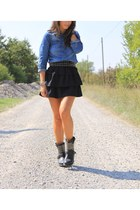 black Zara skirt - blue H&M blouse