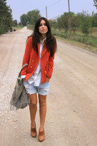 carrot orange H&M blazer - burnt orange Guess boots - light blue Twin-Set bag
