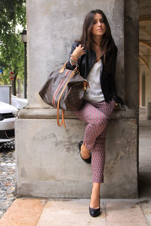 black Zara blazer - dark brown Louis Vuitton bag - brick red H&amp;M pants