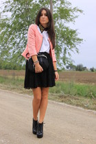 light orange Zara blazer - black H&M skirt - black asos necklace