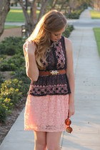 crochet top top - dress - round shades sunglasses - belt
