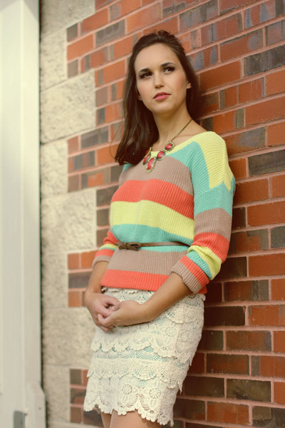 light yellow sweater - light orange necklace - ivory skirt