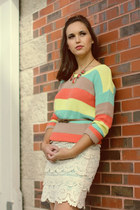 light yellow sweater - light orange necklace - ivory skirt