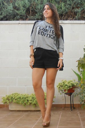 H&M bag - H&M shorts - Stradivarius heels - pull&bear top - Twinkle Deals watch