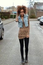 brown leopard H&M dress - black leather Dr Martens boots