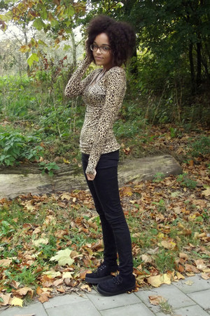 leopard H&M top - velvet H&M loafers