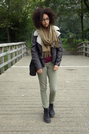 fake leather Hema jacket - Dr Martens boots - beige shawl scarf