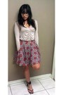 Floral-forever-21-skirt-purple-pink-forever-21-cardigan