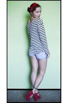 H&M shirt - czech brand Bata shoes - vintage silk scarf