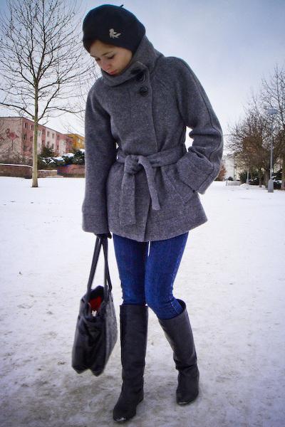 gray New Yorker coat - blue vintage jeans - black Topshop boots - black volcom b