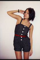 black Vintage romper dress - red vintage belt