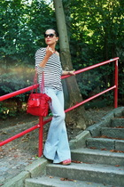 H&M t-shirt - blue H&M jeans - black H&M sunglasses - red Fornarina shoes - red