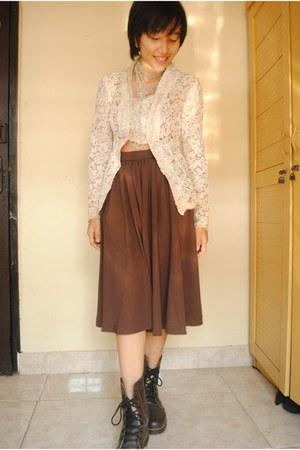 brown boots Brown DocMartens boots - Handmade Kebaya blouse - long skirt skirt -